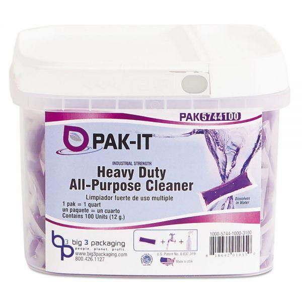 PAK-IT Heavy-Duty All-Purpose Cleaner, Pleasant Scent, 100 PAK-ITs/Tub
