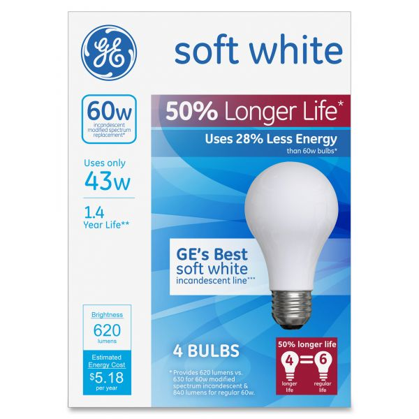 GE Energy-Efficient Halogen Bulb, A19, 43 W, Soft White 4/Pack