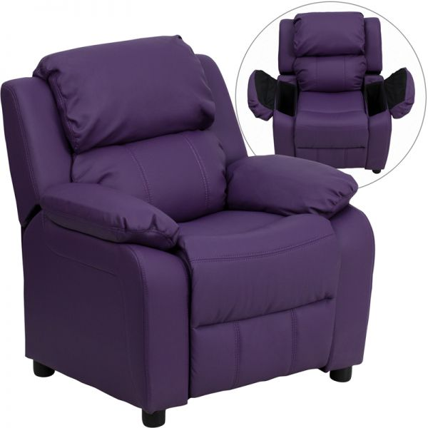 Flash Furniture Deluxe Padded Contemporary Purple Vinyl Kids Recliner with Storage Arms