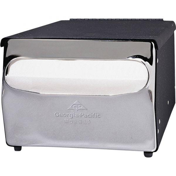 Georgia Pacific Professional MorNap Tabletop Napkin Dispenser, 7 1/2 x 6 x 4 3/8, Black/Chrome
