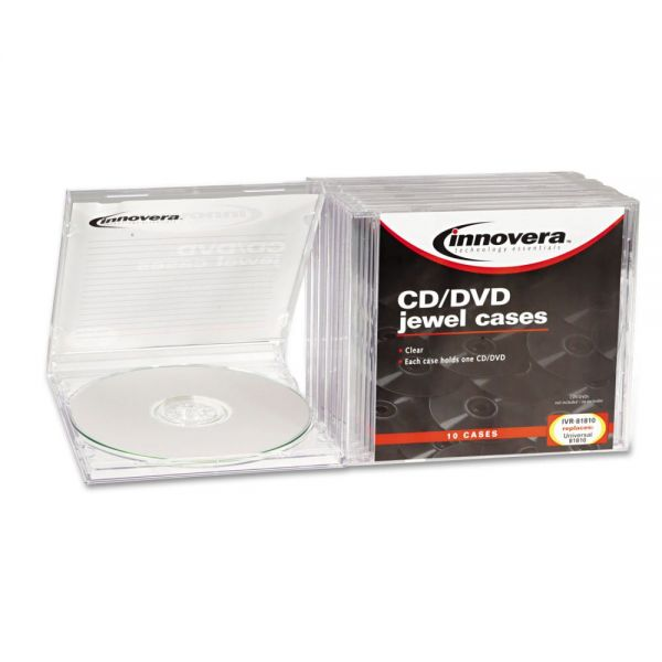 Innovera CD/DVD Standard Jewel Cases, Clear, 10 per Pack