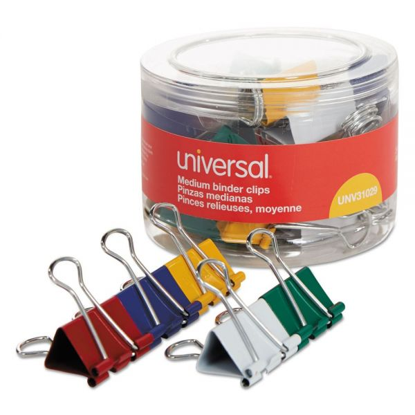 "Universal Medium Binder Clips, 5/8"" Capacity, 1 1/4"" Wide, Assorted Colors, 24/Pack"