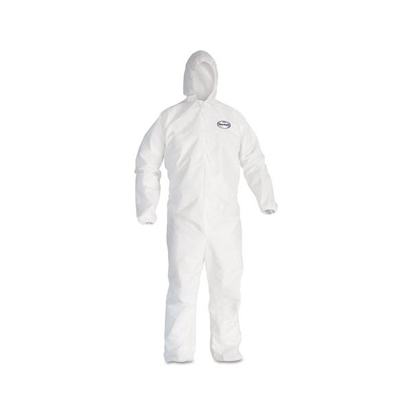 KleenGuard* A20 Elastic Back and Cuff Hooded Coveralls, 4X-Large, White, 20/Carton