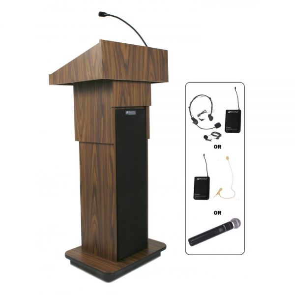 AmpliVox Presidential Plus Adjustable Wireless Column Lectern, 20 x 13 x 46-1/2, Med Oak