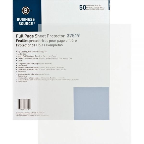 Business Source No Hole Sheet Protectors