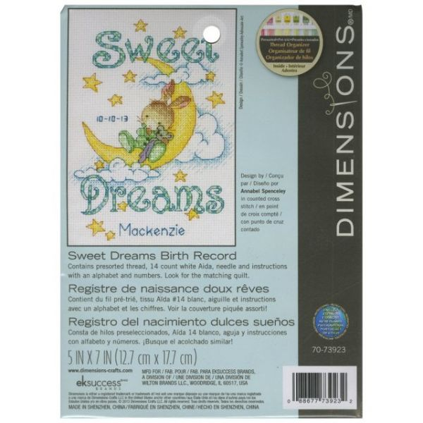 Sweet Dreams Birth Record Counted Cross Stitch Kit