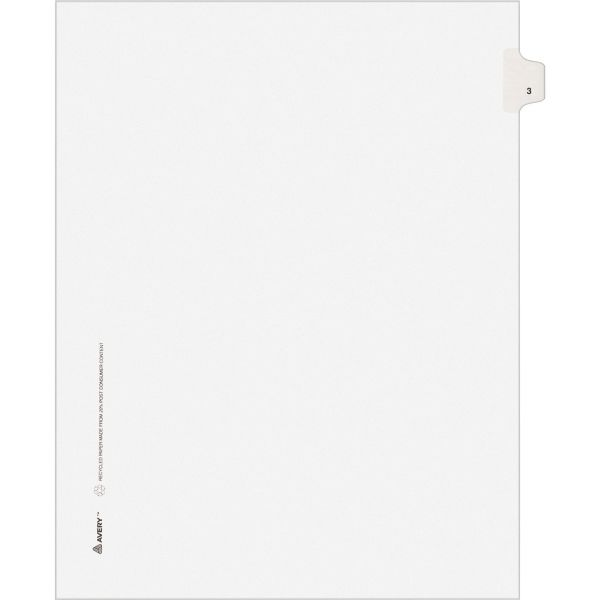 Avery Allstate-Style Legal Exhibit Side Tab Divider, Title: 3, Letter, White, 25/Pack