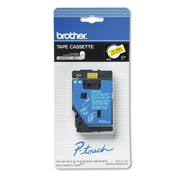"""Brother P-Touch TC Tape Cartridge for P-Touch Labelers, 1/2""""w, Black on Yellow"""
