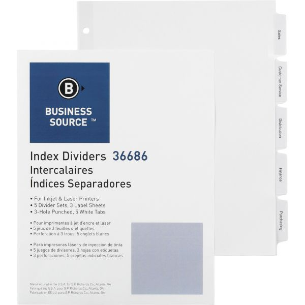 Business Source Index 5-Tab Dividers With Label Sheets