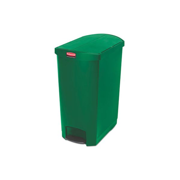 Rubbermaid Commercial Slim Jim Resin Step-On Container, End Step Style, 24 gal, Green