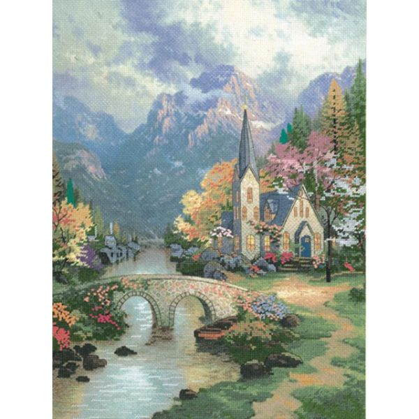 Candamar Thomas Kinkade Mountain Chapel Embellished Cross Stitch Kit