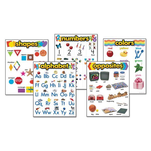 "TREND Learning Chart Combo Packs, Kindergaten Basics, 18"" x 27 1/4"", 5/Set"