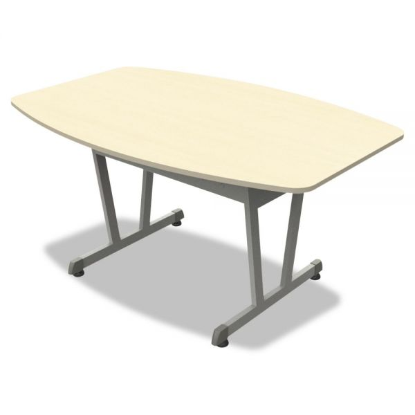 Linea Italia Trento Line Conference Table, 59-1/8w x 39-1/2d x 29-1/2h, Oatmeal/Metallic Gray