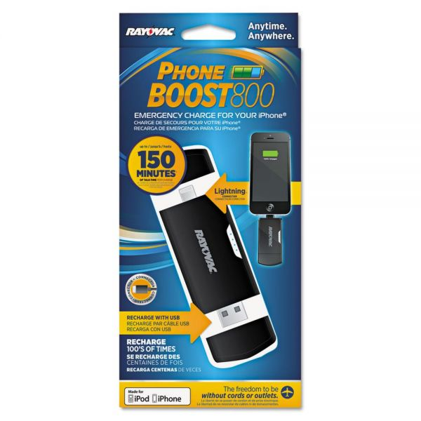 Rayovac Phone Boost Charger, Apple Lightning, Black