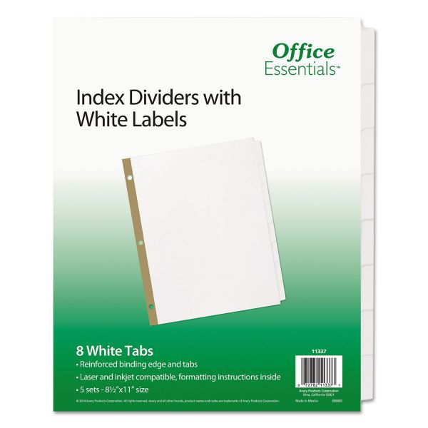 Office Essentials Index Dividers w/White Labels, 8-Tab, White Tab, Letter, 5 Sets