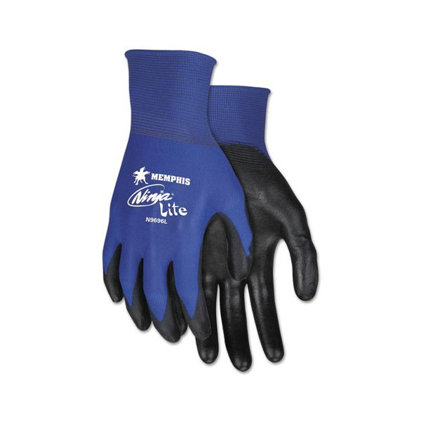 MCR Safety Ultra Tech Tactile Dexterity Work Gloves, Blue/Black, Small, 1 Dozen