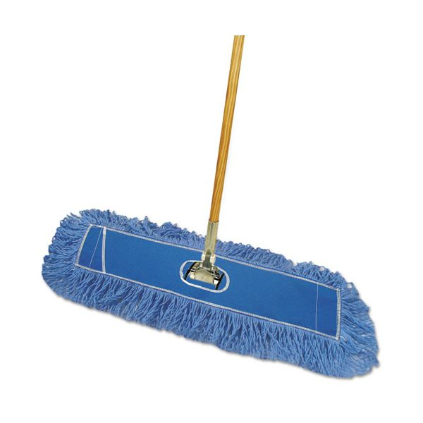 "Boardwalk Looped-End Dust Mop Kit, 24 x 5, 60"" Metal/Wood Handle, Blue/Natural"