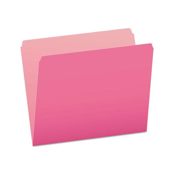 Pendaflex Colored File Folders, Straight Cut, Top Tab, Letter, Pink/Light Pink, 100/Box