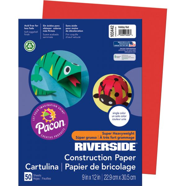 Riverside Groundwood Red Construction Paper