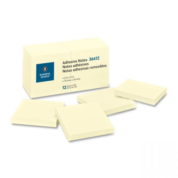 """Business Source 3"""" x 3"""" Adhesive Note Pads"""