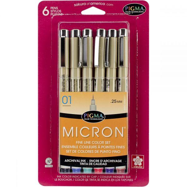 Pigma Micron Pens 01 .25mm 6/Pkg