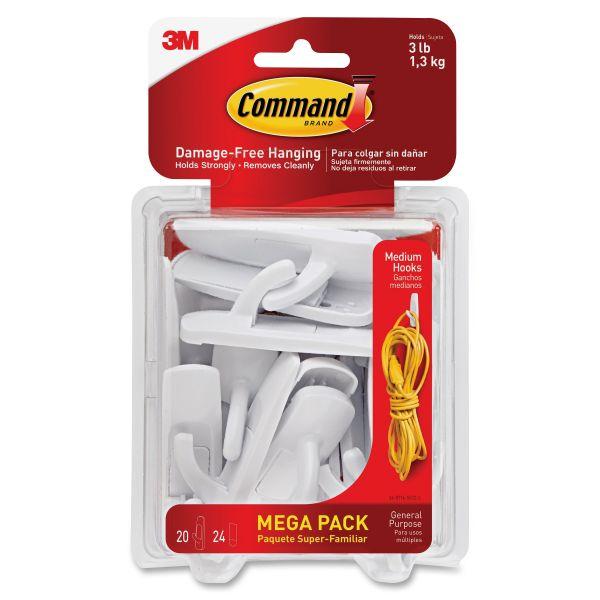 Command General Purpose Hooks, 3lb Capacity, Plastic, White, 20 Hooks, 24 Strips/Pack