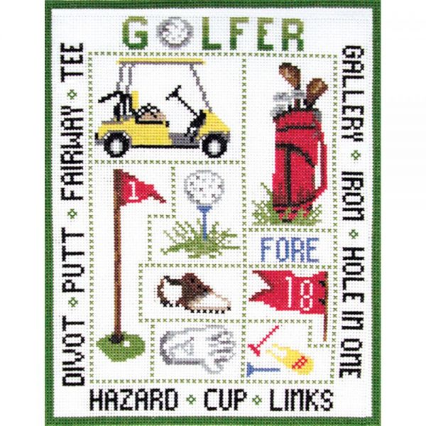 Golfer Sampler Counted Cross Stitch Kit