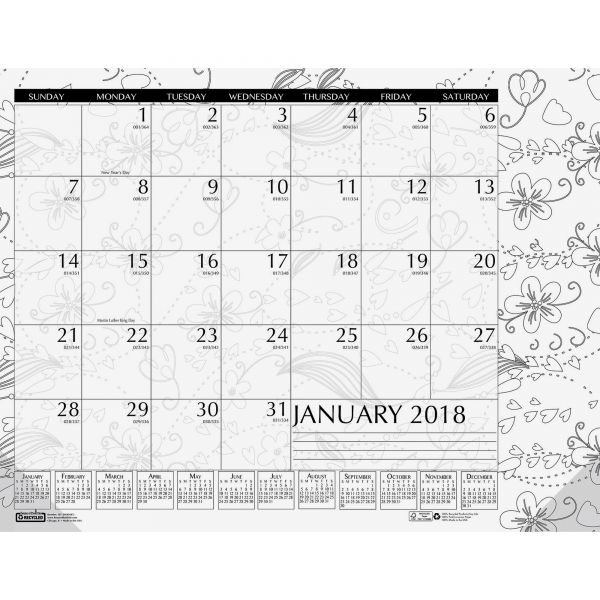 House of Doolittle Doodle Coloring Monthly Desk Pad Calendar