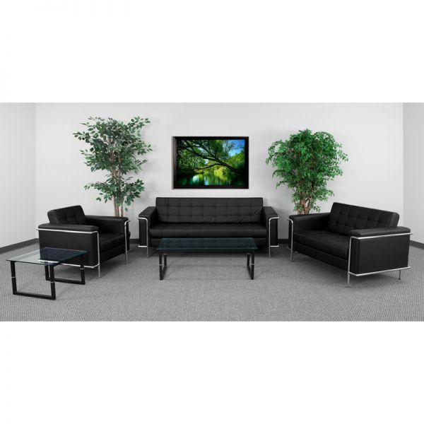 Flash Furniture HERCULES Lesley Series Reception Set in Black