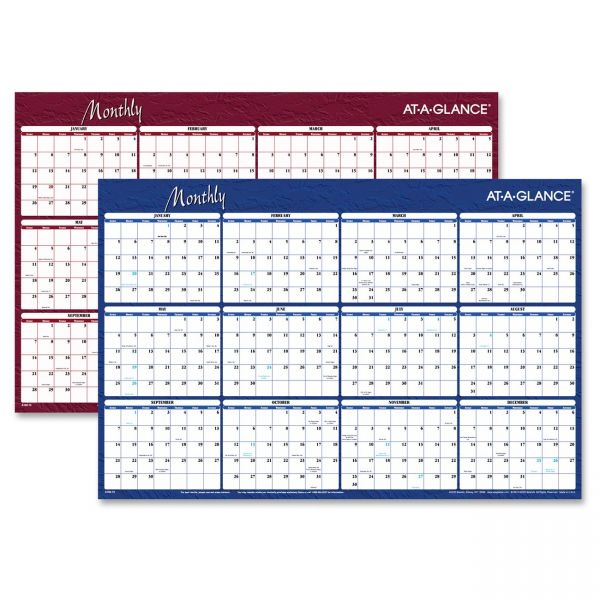 At-A-Glance Reversible Write-On/Wipe-Off Yearly Wall Calendar