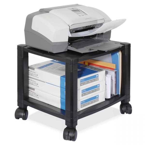 Kantek Two-Shelf Mobile Printer Stand, 17 x 13-1/4 x 14-1/8, Black