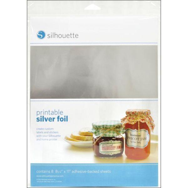 "Silhouette Printable Adhesive Foil 8.5""X11"" 8/Pkg"