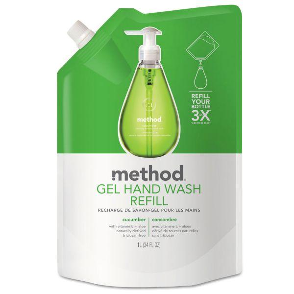 Method Gel Hand Wash Refill, Cucumber, 34 oz Pouch, 6/Carton