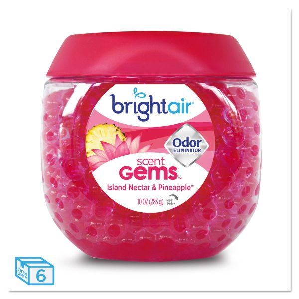 BRIGHT Air Scent Gems Odor Eliminator, Island Nectar and Pineapple, Pink, 10 oz, 6/Carton