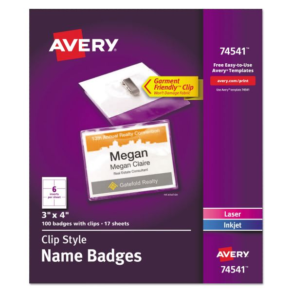 Avery Clip-Style Name Badge Holders w/Inserts, Top Load, 3 x 4, White, 100/Box
