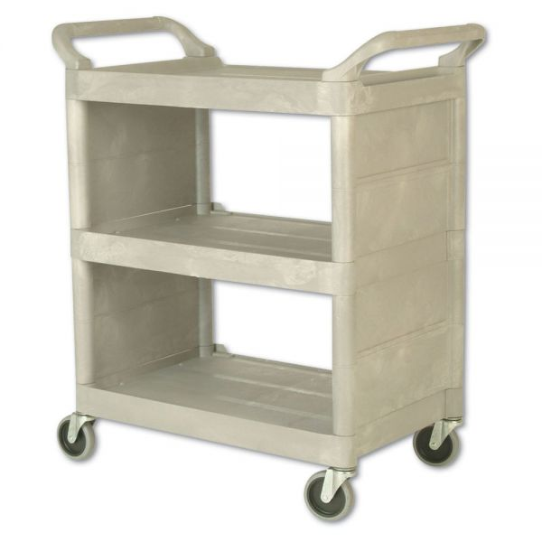 Rubbermaid Commercial Utility Cart, 300-lb Cap, Three-Shelf, 32w x 18d x 37-1/2h, Platinum