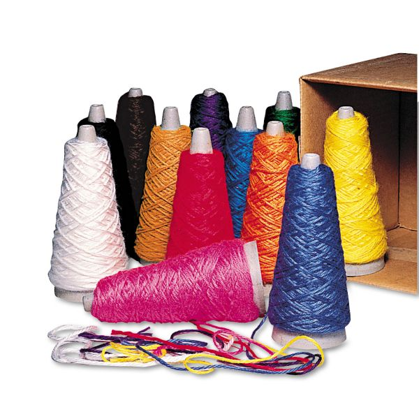 Pacon Trait-Tex Double Weight Yarn Cones, 2 oz, Assorted Colors, 12/Box