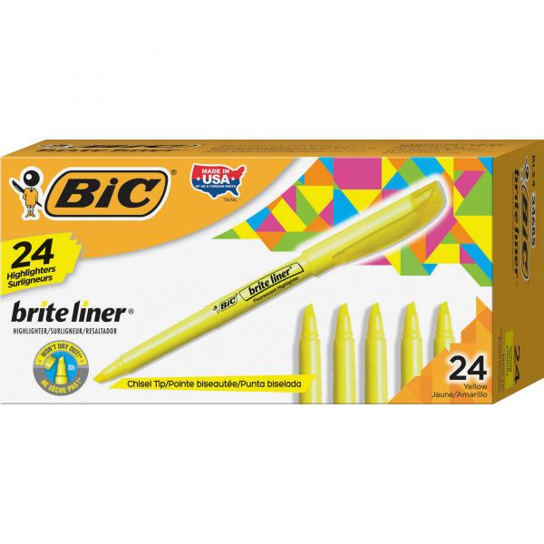 BIC Brite Liner Highlighter, Chisel Tip, Yellow, 24/Pack