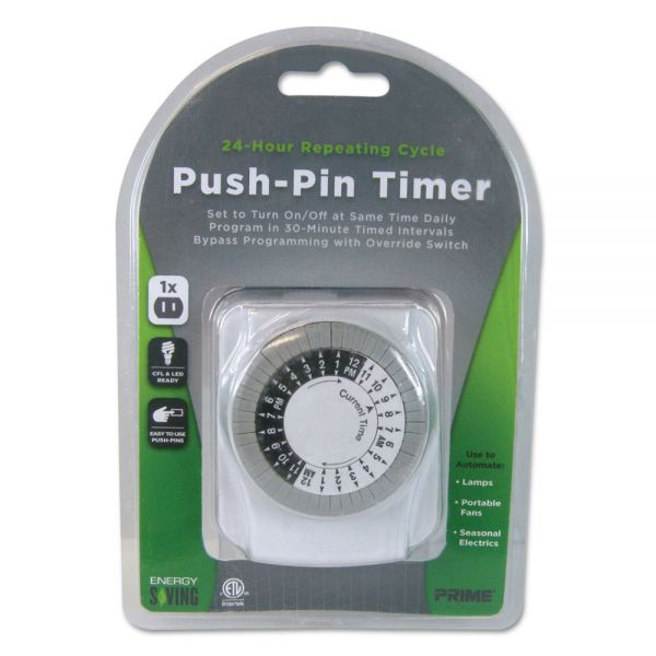 PRIME Push-Pin Timer, 1 Outlet, 15 Amps, White