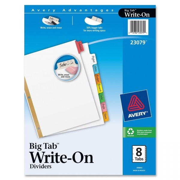 Avery Big Tab Write-On Dividers with Erasable Tabs