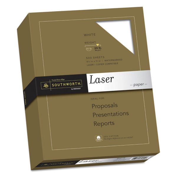 Southworth 25% Cotton Laser Paper, 24lb, 95 Bright, Smooth Finish, 8 1/2 x 11, 500 Sheets