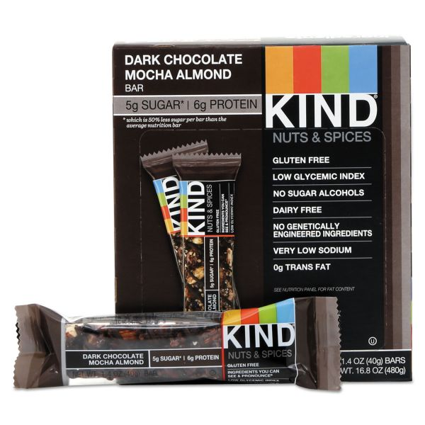 KIND Nuts and Spices Bar, Dark Chocolate Mocha Almond, 1.4 oz Bar, 12/Box