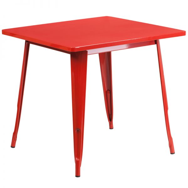 Flash Furniture 31.5'' Square Red Metal Indoor-Outdoor Table