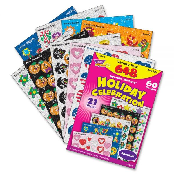 Trend Holiday Celebration Sparkle Stickers Variety Pack