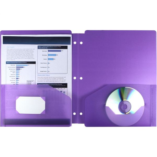 Storex Thicker Poly Purple Two-Pocket Folders with Holes