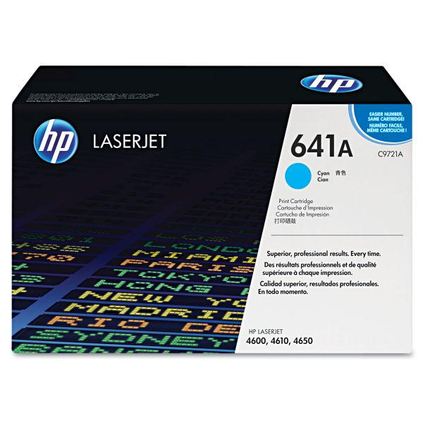 HP 641A, (C9721A) Cyan Original LaserJet Toner Cartridge