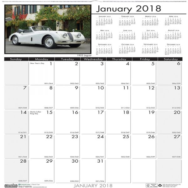 House of Doolittle Classic Cars Monthly Wall Calendar