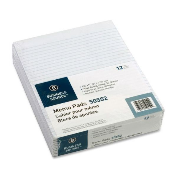 Business Source Glued Top Ruled Memo Pads