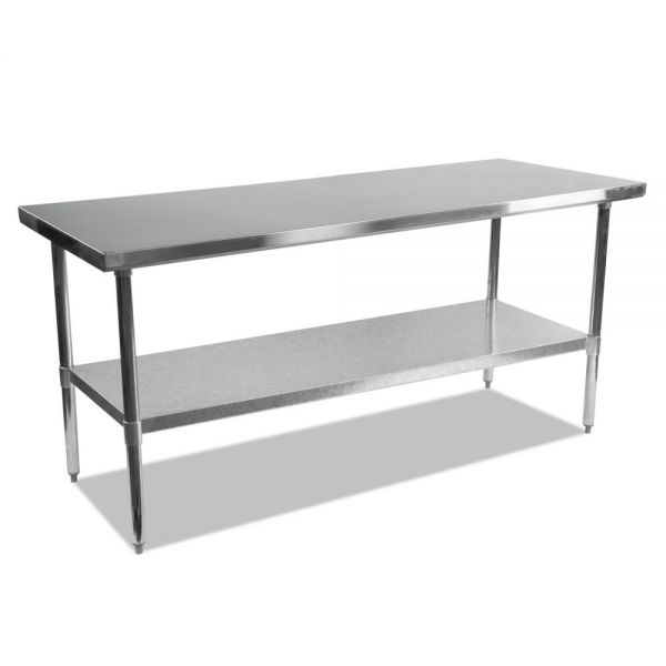Alera Stainless Steel Table, 72 x 30 x 35, Silver