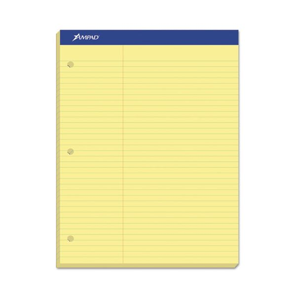 Ampad Double Sheets Pad, Law Rule, 8 1/2 x 11 3/4, Canary, 100 Sheets
